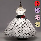 Girl Dancing Party Wear Xmas Clothes Flower Teenager Kids Polka Dot Formal Gowns