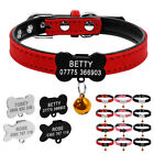 Personalized Suede Leather Dog Collars Puppy Cat ID Name Collars for Small Dogs