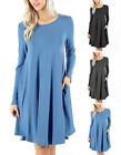 Long Sleeve Round Hem A-LINE DRESS With Side Pockets S ~ XL