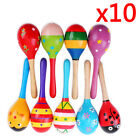 5 10PCS Cute Wooden Maraca Rattles Musical Instrument Baby Children Shaker Toys