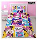 Girl Kids Disney Minnie Mouse Cartoon Character Reversible Single Duvet Bed Set
