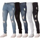 New Mens KRUZE Stretch Super Skinny Ripped Denim Distressed Denim Jeans