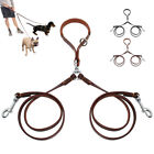 Soft 2 Way Genuine Leather Dog Leads Leash No Tangle for Two S/M Dogs Walking