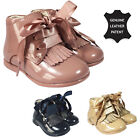 BABY GIRLS INFANT LEATHER SPANISH PATENT SHOE BOOTS WITH SATIN SIZE UK 4 - 8