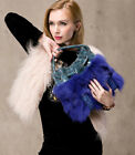 women winter fashion top fox fur and real leather bag handbag blue beige black