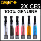 100% GENUINE | 2X ASPIRE CE5 ATOMISERS | BRAND NEW | CLEAROMIZER | EGO | 1.8 OHM