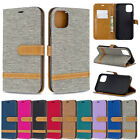 10pcs/lot Color Matching Denim PU Leather Case for iPhone Samsung LG Motorola