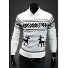 FASHION MEN NECK SWEATER LONG SLEEVE JUMPER PILLOVER DEER PRINTED CLOTHES M-XXL