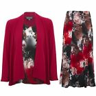 Womens Floral Print Long Sleeve Flare Waterfall Cardi Top 2 Piece Lined Skirt