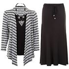 Womens Knitted Stripe Long Sleeve Waterfall Cardi Top Flare Lined Skirt 2 Piece