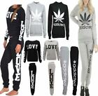 Ladies Love Addicted Weed Print Leaf Sweat Suit Women Long Sleeve 2 PC Tracksuit
