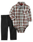 Carters 3 6 9 12 18 24 Months Bow Tie Plaid Bodysuit Pants Set Baby Boy Clothes