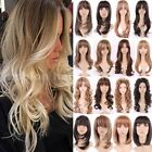 black hair with ombre red - Hot Women Long Hair Wig With Bangs Curly Straight Full Wig Synthetic Hair Wig sf