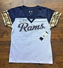 St. Louis Rams NFL Pass Rush V-Neck Football Jersey Mesh Top NWT $34.99