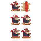 6 PCS Christmas Pattern Wood Clips Clothespins Phote Paper Pegs Xmas Decor
