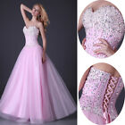 Elegant LONG Beaded Party Prom Dress Formal Cocktail Homecoming Ball Dress 2~16