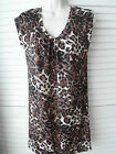 NEW WOMAN'S LADIES LIGHTWEIGHT V NECK SMART BROWN 'STRETCH' LEOPARD PRINT  TOP