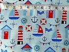 Blue Sea Beach Boats Lighthouse Nautical Fabric Material Craft Quilt FQ Metre