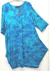 ANGEL CIRCLE TIE DYE TURQUOISE BLUE 3/4 SLEEVE JERSEY DRESS INVERTED PLEAT FRONT