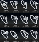 Lady 925 Sterling Silver 12 Constellations Zodiac Sign Adjustable Opening Ring
