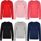 NEW WOMENS LADIES CABLE KNIT LONG SLEEVE KNITTED JUMPER SWEATER TOP WINTER 8-18