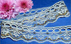 "Gold White Lace Trim Floral 1-3/8"" Beading B16V US Made Added Trim ShipFree"