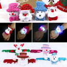 Sequin LED Light Glow Christmas Toy Xmas Snowman Slap Circle Bracelet Wrist Band