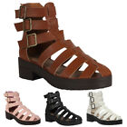 WOMENS CUT OUT LADIES SUMMER CASUAL CHUNKY THICK HEEL SANDALS SHOES SIZE 3-8