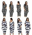 Ladies Oversized 2 Pocket Off Shoulder Printed Baggy Midi Dress Tie Dye Splash