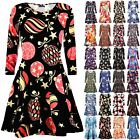 Womens Ladies Christmas Xmas Santa Snowman Star Penguin Flared Swing Mini Dress