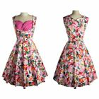 Women Vintage Style 50'S 60'S Flora lPrinted Party Housewife Sleeveless Dress