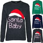 Womens Ladies Chirstmas Xmas Sweater Santa Baby Hat Oversized Pullover Jumper