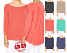 """MODAL"" Scoop-Neck Three-Quarter-Length Sls Comfy Casual Hi-Lo Hem Top S ~ L"