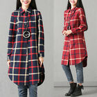 UK 8-24 Women Buttons Loose Check Plaid Long Sleeve Mini Dress Shirt Tops Blouse