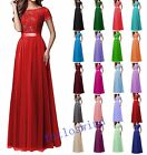 Long Lace Chiffon Evening Formal Party Ball Gown Prom Bridesmaid Dress Size 2-16