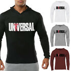Universal Print Men Gym Fitness Hoodies Athletic Muscle Fit Pullover Apparel