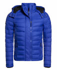 New Mens Superdry Fuji Double Zip Hooded Jacket Royal Blue