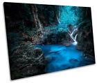 Blue Forest Waterfall River Print CANVAS WALL ART Picture Framed