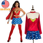 US Ladies Wonder Woman Corset Costume Superhero Halloween Party Outfit S-2XL