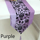 Flower Blossom Flocked Damask Table Runner Cover Tableclothes Weeding Home Decor