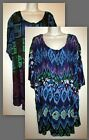 Womans 34W / 4X Crinkle Rayon Print Angelina Short Sleeve Tunic New in Package
