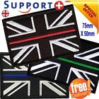 THIN BLUE LINE PATCH UNION JACK HOOK AND LOOP EMERGENCY SERVICES