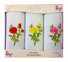 ESTHER GRAY *3 PACK VALUE* 100% COTTON EMBROIDERED FLORAL HANDKERCHIEFS IN BOX