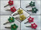 2 SATIN / METALLIC POINSETTIA SNAP HAIR CLIPS FLOWER GIRL WEDDING CHRISTMAS