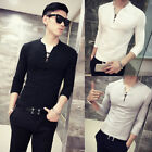 USA Fashion Men's Slim Fit Long Sleeve Muscle Tee T-shirt Casual Tops Blouse