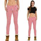 New Womens Ladies Slim Skinny Stretch Red & White Candy Stripe Pants Trousers