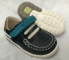 BNIB Clarks Boys Softly Flag Navy Combi Leather First Shoes G Fitting