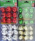 """CHRISTMAS JINGLE BELLS Red Green Gold Silver w Gold Loops 1.5"""" 9/PK SELECT Bell"""