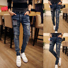 USA Men Ripped Skinny Biker Jeans Destroyed Frayed Designed Slim Fit Denim Pants