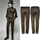 Punk Rave K-271 Steampunk Brown Coffee Striped Trousers Vintage Style Pants